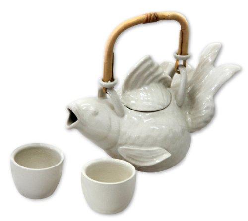NOVICA East Meets West Ceramic Coffee & Tea Sets, White, 2 oz, 'White Fish Legends' (Set for 2) by NOVICA
