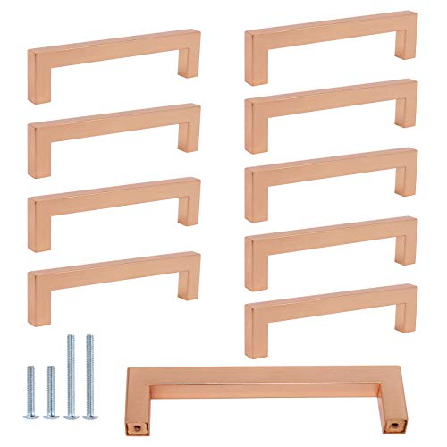 10Pack Square Bar Pull Cabinet Handle Rose Gold Finish Dresser Drawer Pulls Knobs Satin Copper Finish Handles 5inch Hole to Hole Brushed Furniture Hardware