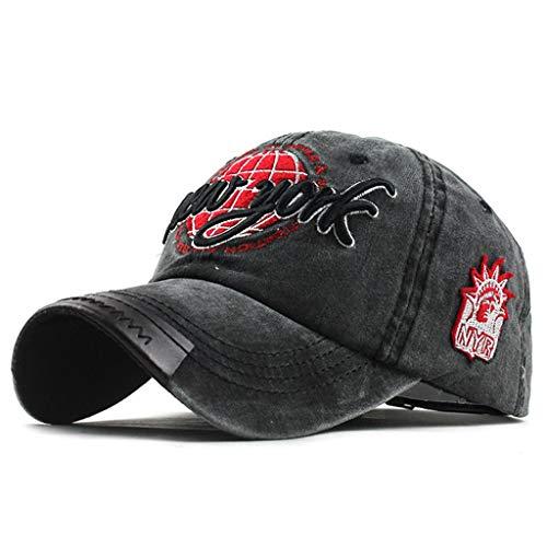AcisuHu Outdoor Embroidered Unisex Solid Wicking Baseball Caps Fitness Adjustable Wrap Chapeau (Black, Adjustable)
