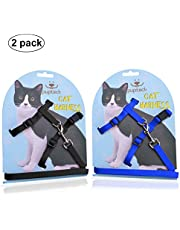 PUPTECK Adjustable Cat Harness Nylon Strap Collar with Leash Black & Blue