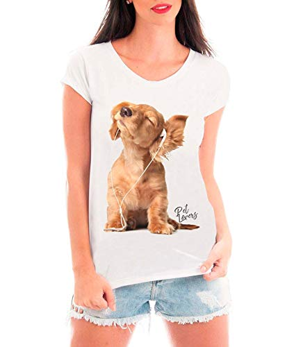 Camiseta Blusa T Shirt Bata Criativa Urbana Dog Cachorro Fones Música Pet Lovers Branco M