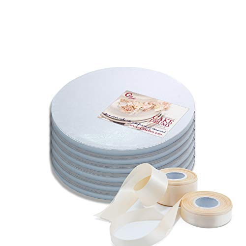 Cake Drum - Cake Drums Round 10 Inches - Sturdy 1/2 Inch Thick - Professional Smooth Straight Edges - FREE Satin Cake Ribbon (White, 6-Pack)