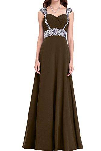 Festkleider Promkleid Abendkleider Chiffon Lang Traeger Ivydressing Schokolade Linie Damen Steine A gpZHw