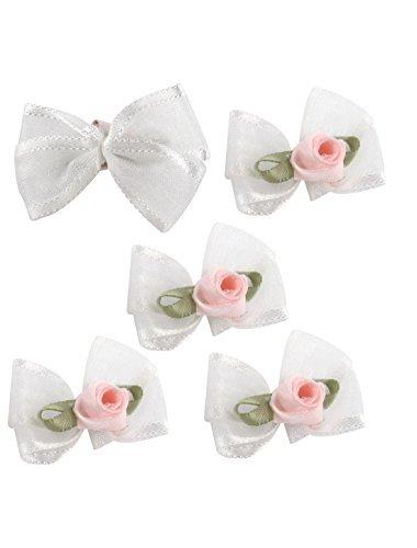 Organza roupas cor de rosa Rosa Enfeite Apliques bowknot 5Pcs Branco
