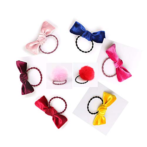 Hair Bows Tie Gold Velvet Rubber Band and Hair Ball Hair Bands for Baby Girls 8pcs