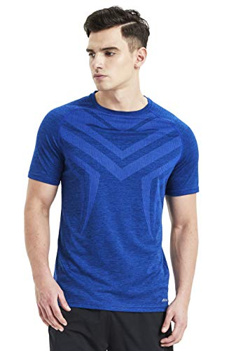 Akilex Mens Tight Sports Short Sleeve Comfortable Quick Dry Fitness Running Shirt Top (3006 Blue, L (Chest 40.5-41 inch))