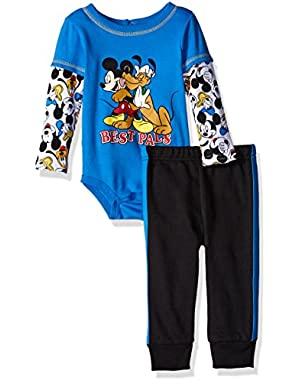 Baby Boys' 2-Piece Mickey Mouse and Goofy Top and Pant Set