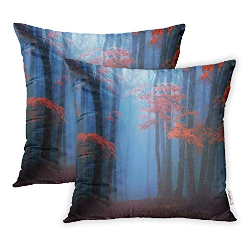 Emvency Set of 2 18x18 Inch Throw Pillow Covers Cases Blue Beautiful Fantasy Moody Forest in Autumn Colorful Dark October Atmosphere Case Cover Cushion Two Sided