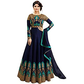 41 CuCPF5EL. SS320 Fast Fashions Women's Embroidered Phantom Slik Semi Stitched Anarkali Gown (Free Size)