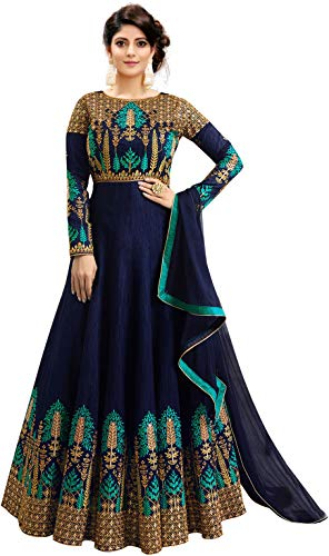41 CuCPF5EL Fast Fashions Women's Embroidered Phantom Slik Semi Stitched Anarkali Gown (Free Size)