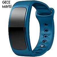 Samsung Gear Fit 2 R360 Silikon Kordon Kayış (l Beden) GECE, MAVİSİ
