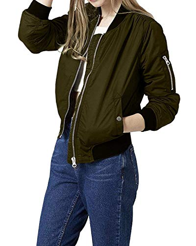 Manica Donna Autunno Primaverile Style Armygreen Lunga Cerniera Collo Vintage Aviatore Prodotto Bomber Con Coreana Giacca Pilot Da Festa Casual Outwear Fashion Ragazze Eleganti Plus TUAwfAqc5Y