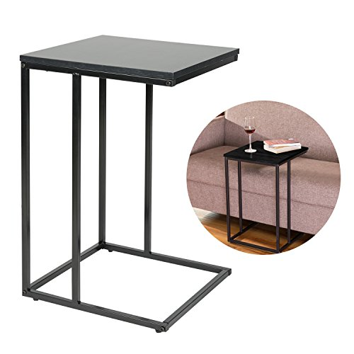 HollyHOME Slide Under Sofa Side Table with Wood Finish and Steel Construction, C-Shape Metal Snacks Side Console Table, Best Accent Table for Your Homestorage (Copper Sofa Table)