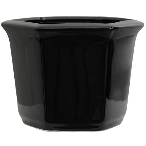 "Oriental Furniture 10"" Solid Black Porcelain Flower Pot"