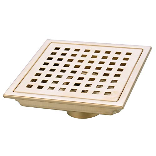 TRUSTMI 6 Inch Square Shower Floor Drain with Removable Grid Grate Cover, SUS 304 Stainless Steel,Brushed Gold ()