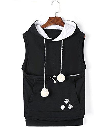 Unisex Cat Ear Big Kangaroo Pocket Sleeveless Hoodie Pet Holder Vest Sweatshirt (L, Black) (Kangaroo Rat)
