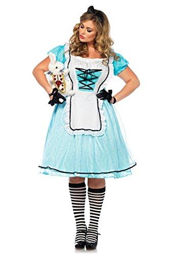 Leg Avenue Women's Plus Size Alice in Wonderland Costume, Blue/White, 1X-2X -