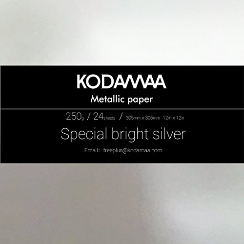 KODAMAA 12''x12'' Square Art Craft Gold/Silver Cardstock, Multipurpose Shimmer Metallic Paper Perfect for Festival Crafting, Party Décor, Gift Packaging (24 Sheets) by KODAMAA