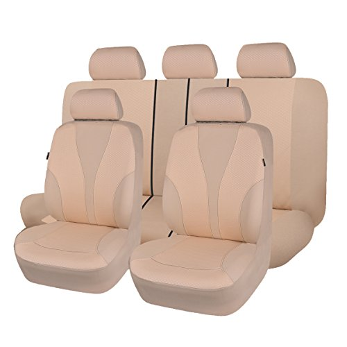 - Flying Banner 11 pcs Beige Cloth Fabric Universal Car Seat Covers Set Airbag
