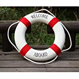 HeroNeo Decorative Welcome Aboard Nautical Lifebuoy Ring Wall Hanging Home Dec...