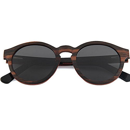 Yxsd Grain Tons Black Lentille Deux de Bois Miroir Lunettes Couleur Cadre Bois Motif Gloss en UV400 Effet Soleil Black px0qrpnCw