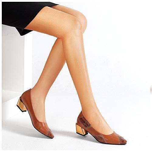 Chaussures Dames À Femme Bureau Mi De Pointu Brown Talon Escarpins Travail D'honneur Demoiselle Robe Pour Lithapp Bout BSUxTU