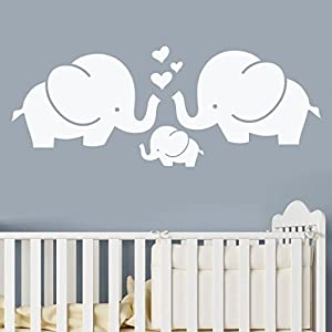 YJYDADA Wall Stickers,Elephant Removable Art Vinyl Mural Home Children's Room Decor Wall Stickers,60cm x 23cm (White)