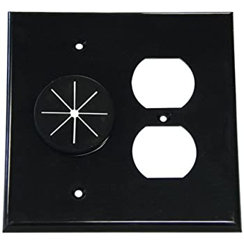 Amazon Com Double Gang Cable Pass Through Wall Plate With
