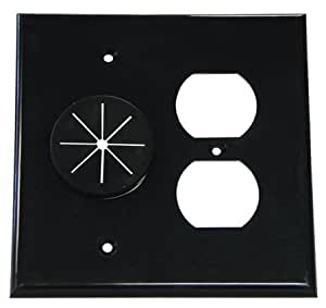 double gang cable pass through wall plate with dual outlet cover black new condition. Black Bedroom Furniture Sets. Home Design Ideas