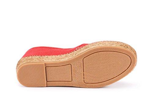 VISCATA Castell Linen Flatform, Authentic and Original Spanish Made Espadrille Flats Red
