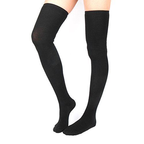 WowFoot Womens Rib Over The Knee Thigh High Socks Cotton Opaque Leg warmer Winter Boot Leggings (A-Black), One Size