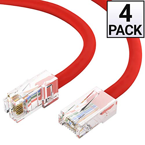 GOWOS Cat6 Ethernet Cable (4 Pack - 50 Feet) Red - 24AWG Network Cable with Gold Plated RJ45 Non-Booted Connector - 10 Gigabit/Sec High Speed LAN Internet/Patch Cable - ETL Listed (10 Best Foosball Videos)