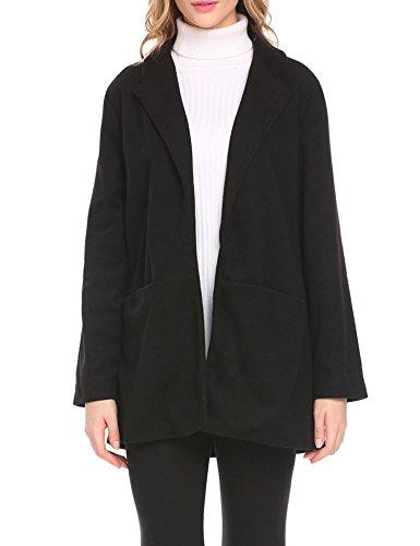 Simple Wool Coat (SE MIU Women's Elegant Long Trench Coat Jacket Black XXL)