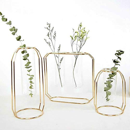 Metal Vase Frame, Geometric Plant Pot, 3Pack,Centerpiece Plant Vase, Plants Tabletop Display Holder with Iron Art Frame Stand for Table Office Home Decor -
