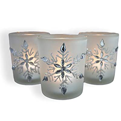 "Snowflake Votive Candleholders with Flameless Flickering LED Candles Frosted Glass Glittery Snowflakes with Jewels - 2-3/4""h"