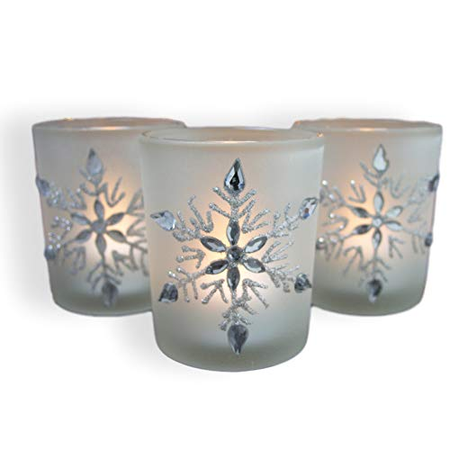 (BANBERRY DESIGNS Snowflake Candleholders with Flameless Flickering LED Candles Set of 3 Frosted Glass Glittery Snowflakes with Jewels - 2.75