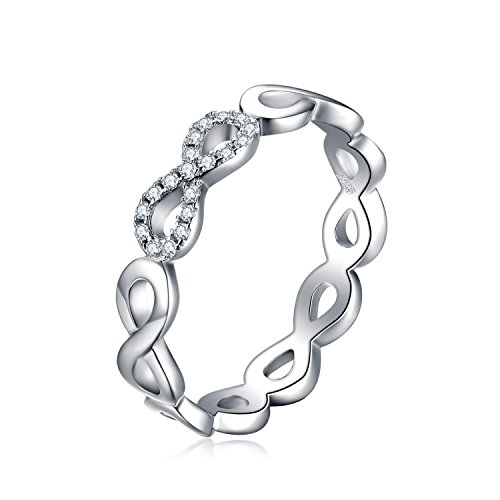 Bangle Silver Ring - JewelryPalace Women's Infinity Cubic Zirconia Wedding Band Ring 925 Sterling Silver Size 6