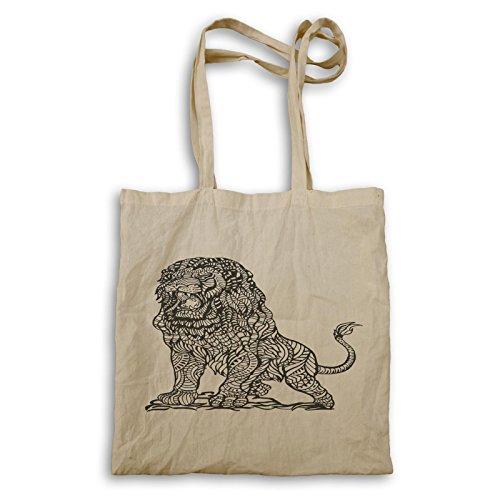 Löwe Tier Zoo Hand gezeichnete Neuheit Lustig Tragetasche a878r