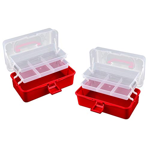 CUTICATE 2Pcs Transparent Empty Storage Box, Multi-use Organizer for Storing Nail Polish, Pills, Earrings, Finger Rings, Necklace Beads and Other Small Items from CUTICATE