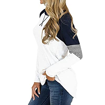 Hilltichu Women's Color Block Round Neck Tunic Tops Casual Long Sleeve and Short Sleeve Shirt Blouse at Women's Clothing store