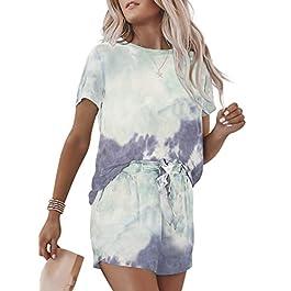 Dearlovers Women's Summer Tie Dye Casual Outfits Round Neck Short Sleeve 2 Piece Short Set