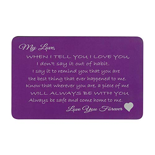(Love You Forever Engraved Metal Wallet Mini Insert Card - Purple)