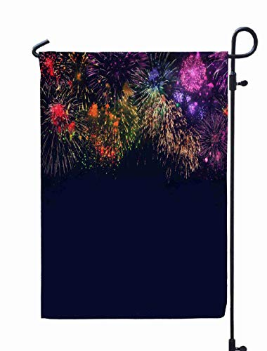 Shorping Welcome Garden Flag, 12x18Inch Various Colorful Fireworks Navy Blue Background Burst Fire Can Be Used to Variety Holidays Christmas for Holiday and Seasonal Double-Sided Printing Yards Flags -