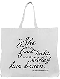 Women's Too Fond Of Books Tote Bag