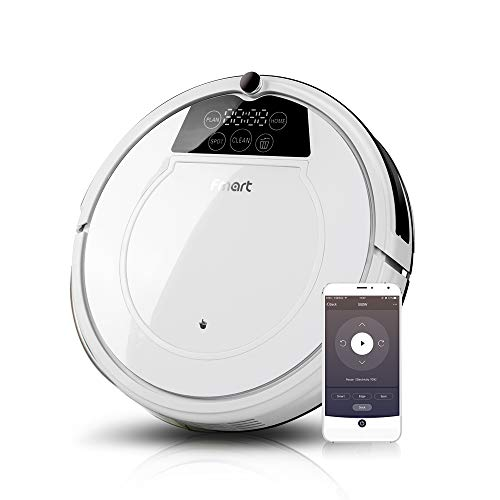 Fmart E-R550W Robot Vacuum Cleaner, Strong Suction, Self-Charging Robotics Vacuum Cleaner with Drop-Sensing and HEPA Filter, Wet Dry Vacuum Mopping Cleaner for Pet Hair, Hard Floor and Thin Carpet