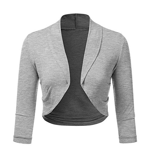 (Women's 3/4 Sleeve Cropped Solid Cardigans Sweaters Jackets Open Front Short Shrugs Vest for Dresses Plus Size Gray)