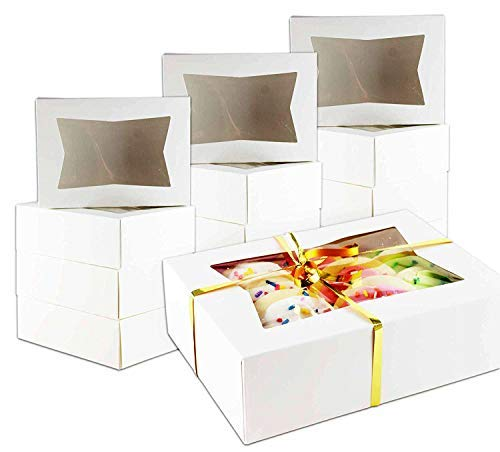 Chefible Durable Pastry and Cookie Box With Window, 8.5x5.3x2 Inches, Extra Sturdy and Perfect for Cookies and Pastries! Set of 12 ()