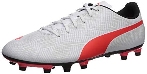 PUMA Men's Rapido FG Sneaker, White-Light Gray Heather Black-red Blast, 10 M US (Gray Footwear Light)