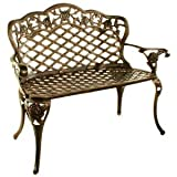 Oakland Living Tea Rose Cast Aluminum Love Seat Bench, Antique Bronze For Sale