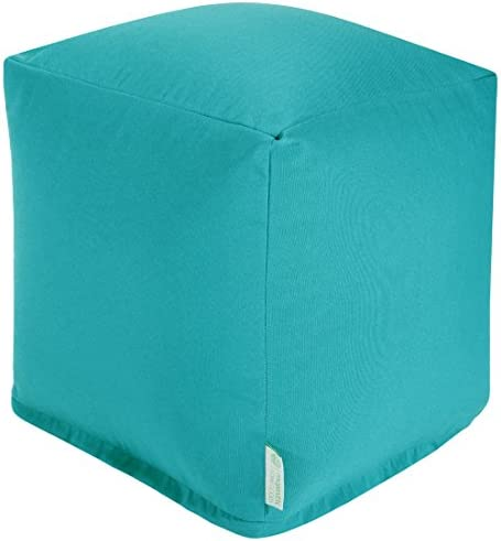 Majestic Home Goods Teal Solid Indoor Outdoor Bean Bag Ottoman Pouf Cube 17 L x 17 W x 17 H